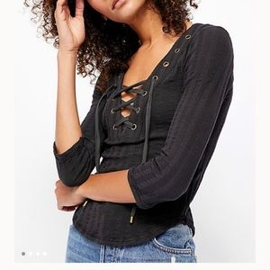 NWT Free People Ice Cold 3/4 Sleeve Lace Up Top